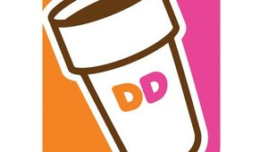 Dunkin' Donuts' distinctive orange and pink branding features throughout the app.