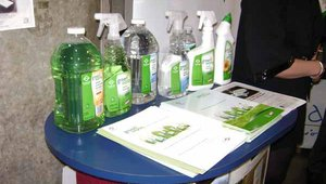 Environmentally-friendly cleaning products are growing in popularity among restaurant operators. The Clorox Co. displayed its line of Green Works biodegradable cleaning products at the show.