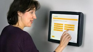 Opinionmeter TouchPoint Kiosk offers wall mount, stand or table mount options. The multimedia kiosk can be used as a stand-alone system for collecting real-time feedback or in conjunction with the Handheld TouchPoint or the Handheld TouchPoint Tablet&