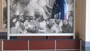 In 2005 White Castle's reimaging moved to the dining rooms. About one-third of the company's 415 stores have the new interior, which features a softer look thanks to pendant lighting, blue seat covers and nostalgic photos.