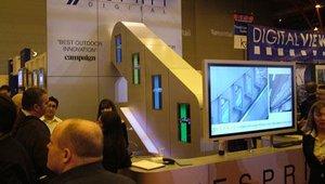 Esprit Digital showed a recreation of its digital signage deployment in the London Underground, where screens run alongside escalators.