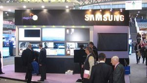 Attendees entering the show were greeted by Samsung's four-panel video wall and screens running HD digital signage content.