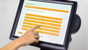 Opinionmeter International's TouchPoint Kiosk offers real-time customer feedback at the point of purchase. The kiosk's touchscreen is easy to use and has an on-screen keyboard.