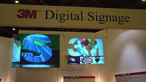 3M showed the possibilities of rear projection technology with a screen die-cut into the shape of the company's logo.