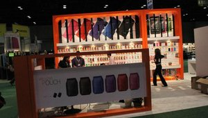 Another retailer tries to attract visitors with its colorfully designed exhibit space.