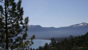 A look back at the Nevada side of South Lake Tahoe from across the California border.