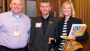 From left: Rich Ventura from Summit Platinum sponsor NEC, Doug Reifschneider, Firehouse Subs, and Patricia Murphy, NEC