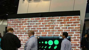 """NEC's booth showcased a video """"graffiti"""" wall that allowed passersby to pick their spray paint, from color to thickness of spray."""
