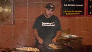 Genghis Grill menu items are cooked on a 7-foot plate, which heats to about 500 degrees and weighs approximately 2,000 pounds. Bhatka said the plate can cook 16 to 18 meals at a time.