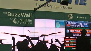 Christie showcased its interactive Buzz Wall, like the one installed at the NFL Miami Dolphins' Sun Life Stadium.