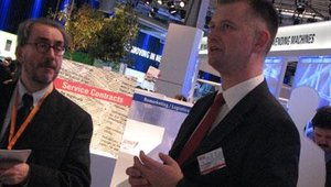 Johannes Parensen led a group of journalists through Wincor Nixdorf's managed services solutions for FIs and retailers.