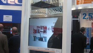 3M's booth, featuring the company's Vikuiti film, which can be cut to any shape and then serve as a projection surface.