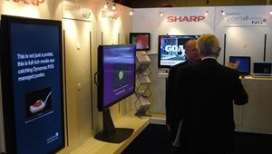 Sharp's booth contained several large displays, powered by Point Of View's software suite.