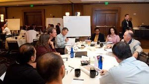 After the keynote, executives were divided into eight groups for a Brain Exchange discussion session. Each table was given a topic — such as menu development, social media marketing or team dynamics — to discuss for 30 minutes.