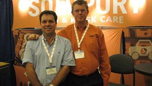 From left are Sean Burke of Access to Money, formerly TRM Corp., and Wayne Vandekraak of Solvport.