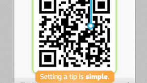 The app can be scanned at the POS or tabletop and even features an automatic tip calculator.