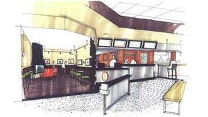 A rendering of Tom & Eddie's set to open in the Lombard, Ill., Yorktown Center details the restaurant's use of warm brown and orange tones. The restaurant will feature several distinct seating areas including a lounge section with fireplace.