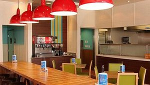 New design elements include the addition of bamboo countertops, colorful chairs and bright colors. New plates and silverware also have been added.