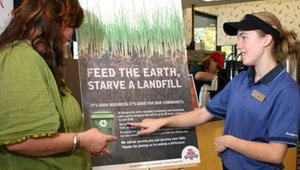 An important component of Burgerville's in-store marketing program is explaining its sustainability efforts. The goal is to let customers know about seasonal, local products, and the recycling program in all 39 stores.