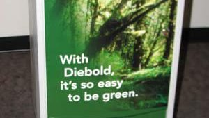 "The ""green"" movement is one Diebold is taking seriously, Chipps says. ""We want our customers to know about our 'green' initiatives,"" she said. To that end, Diebold has named Jim Merrill the director of its green ini"