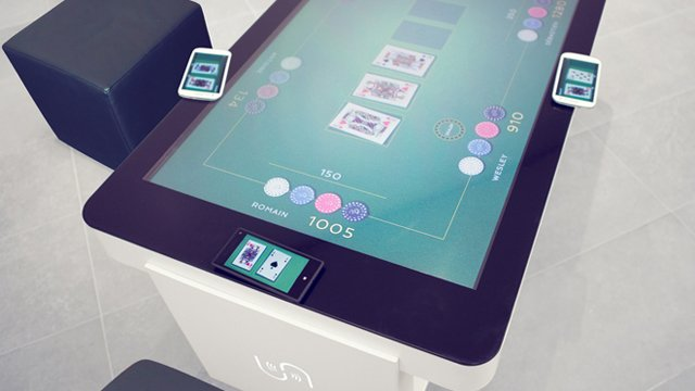 Digital signage furniture multitouch tech enhances interactive tables digi - Table basse high tech ...