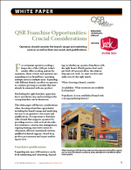 QSR Franchise Opportunities: Crucial Considerations