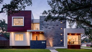 <p>Merge Architects Inc. showcased a home they designed in the southern part of the Bellaire neighborhood that sits upon concrete piers to accommodate the lots location in a flood plain.</p>  <p>The central pivot of the home is a two-story height great room, from which each wing of the house stems. All common areas of the house open up to this room on all levels, including the large covered back patio. Photo by Taggart Cojan Sorensen</p>