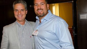 Juan Martinez (left) and Kenny Lugo represented Giradino Gourmet Salads. The South Florida-based chain placed No. 33 in the ranking of top fast casual brands for 2013.