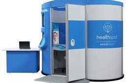 HealthSpot, a provider of health care technology, developed a system that provides remote medical diagnostics to patients. The HealthSpot Station is a private, walk-in kiosk that gives acute care patients live access to board-certified doctors, via high-definition videoconferencing and interactive digital medical devices.