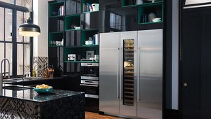 Slim refrigerators pair with wine storage systems.