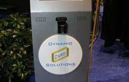 Dynamic Card Solutions, a company that provides instant-card-issuance technolgoy for banks and credit unions, showcased its self-service kiosk for automated card issuance within a branch or retail environment.