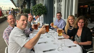 Execs from Welbilt, the Summit's platinum sponsor, enjoy a pre-summit dinner in London with staff members from Networld Media Group.