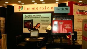 Immersion Corp. showed its next-generation force feedback touchscreen technology, TouchSense. The hardware simulates touching a real button.