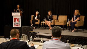 "<p>Interstate Batteries CMO Dorothy Jones (standing) spoke during a panel on ""Evoking emotions in creating immersive experiences,"" with (from left to right) <span style=""line-height: 20.8px;"">moderator Roberta Perry</span><span style=""line-height: 20.8px;"">, the VP of business development for Fresh Juice Global; </span>Michelle Adams, the founder of Marketing Brainology; and Tara Banks, the senior director of digital design and experience at Hilton Grand Vacations.</p>"