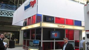 Broadsign had a massive two-story booth at the show, with meeting areas upstairs and down.