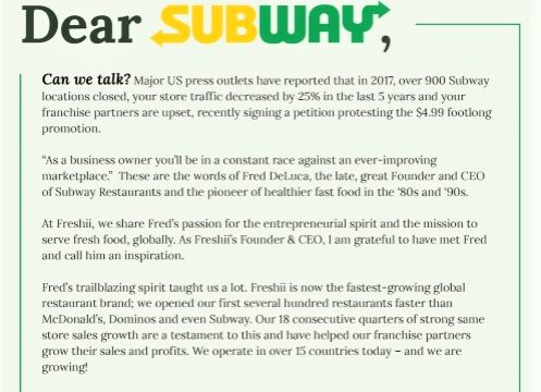 Freshii to Subway: Let's partner to succeed