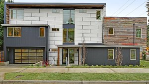 Rear view of the single family net zero energy ready home.