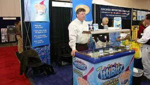 Ken Caswell from Buckeye Food Service, in Columbus, let people sample IttiBitz ice cream products.