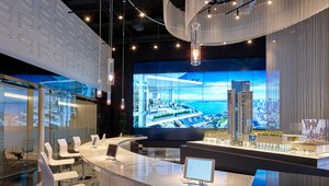 Digital signage video wall selling high-rise condos in Miami