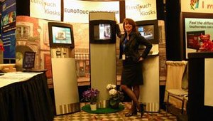 Euro Touch Kiosks, a newly established American division of an established European kiosk company, showed its streamlined, general-purpose indoor and outdoor units.