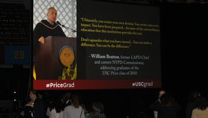 <p>The University's Sol Price School of Public Policy used digital signage and social media integration during its graduation ceremony to get attendees sharing on social media, and to also show images and video with a graduation theme.</p>  <p>The school showed posts from Instagram and Twitter that used the hashtag #USCPrice, allowing families and the students to share their memories with the school on social media. It also allowed families and friends to congratulate the new graduates live during the ceremony. </p>