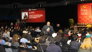 <p>The University&#39;s Sol Price School of Public Policy used digital signage and social media integration during its graduation ceremony to get attendees sharing on social media, and to also show images and video with a graduation theme.</p></p><br /> <p><p>The school showed posts from Instagram and Twitter that used the hashtag #USCPrice, allowing families and the students to share their memories with the school on social media. It also allowed families and friends to congratulate the new graduates live during the ceremony.&nbsp;</p><br /><br />