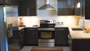 <p>The kitchen features recycled glass countertops and Energy Star rated appliances.</p>