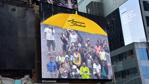 Digital signage 'umbrella' provides shelter in Times Square