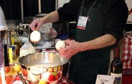 Raffaele Mascolo showed off freshly made mozzarella at the F&A Dairy Products booth.