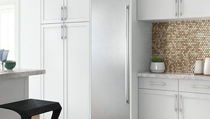Slim refrigerator options save space in compact kitchens.