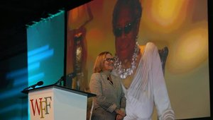 Maya Angelou, American author and poet, also addressed the group.