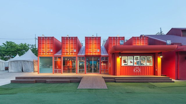Shipping containers used to create Korean mall