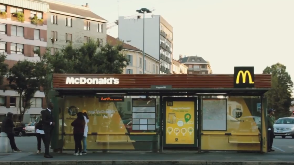 I'm lovin' it in Italy: McDonald's launches delivery via interactive bus shelters in Milan