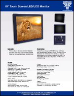 """19"""" Touch Screen LED/LCD Monitor Sell Sheet"""